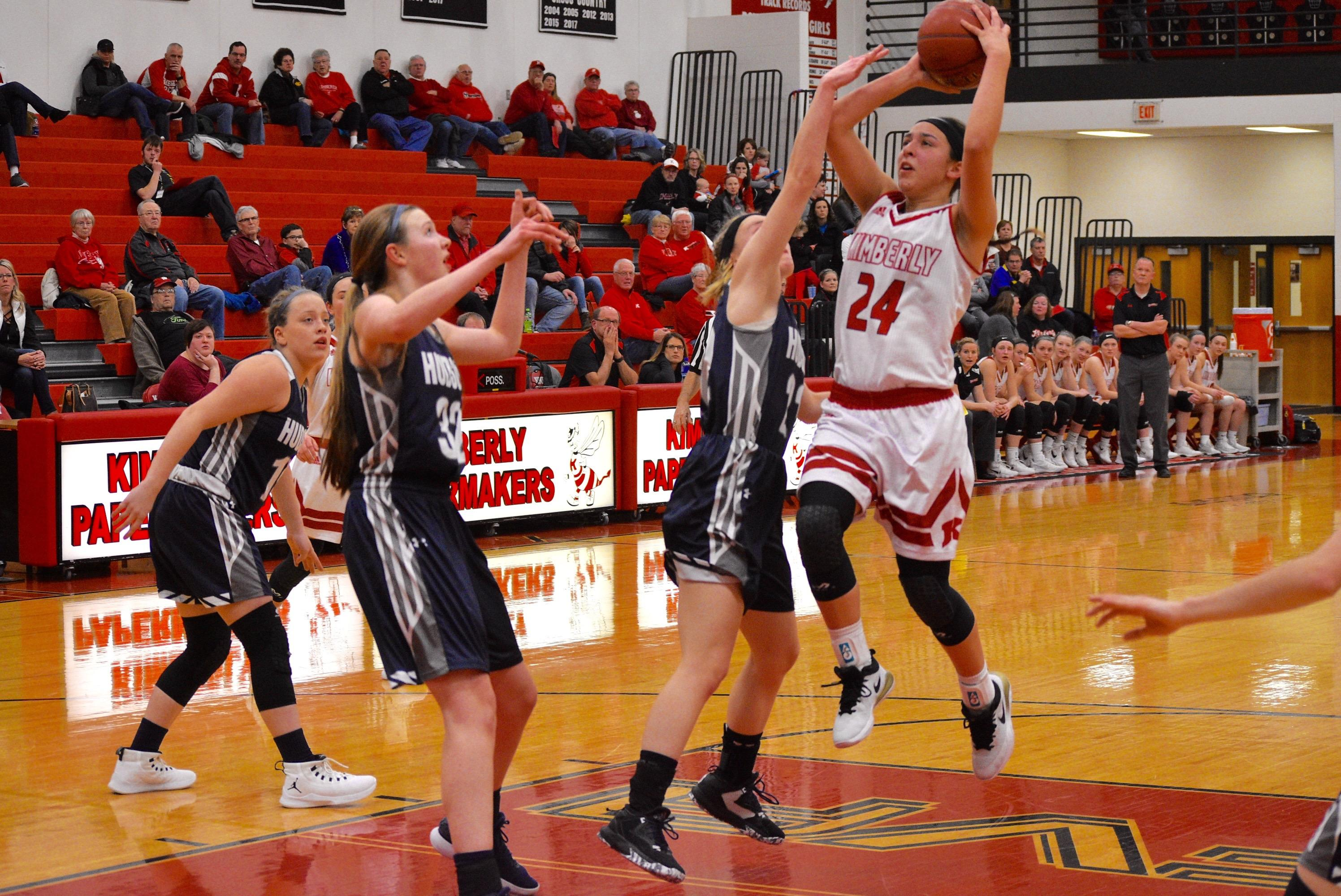 Kimberly defeated Hudson, 57-43, to win a Division 1 regional title on Monday. (Doug Ritchay/WLUK)<p></p>