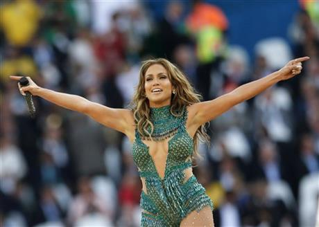 United States singer Jennifer Lopez performs during the 2014 World Cup opening ceremony ahead of the group A soccer match between Brazil and Croatia, the opening game of the tournament, in the Itaquerao Stadium in Sao Paulo, Brazil.