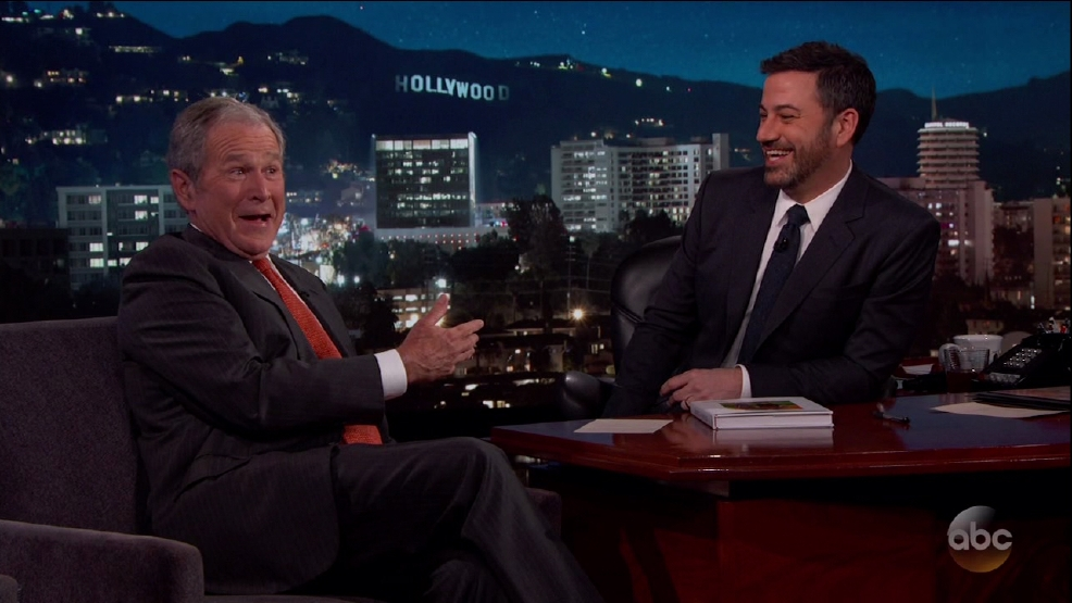 George W. Bush jokes with Jimmy Kimmel about Oscars, Cheney shooting people