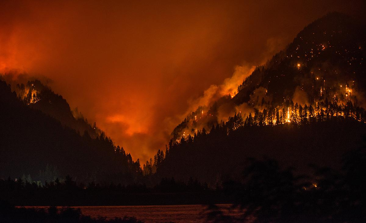 Photo of the Eagle Creek Fire taken from the Washington side of the Bonneville Dam area on Monday, Sept. 4, 2017. (Photo by Tristan Fortsch)
