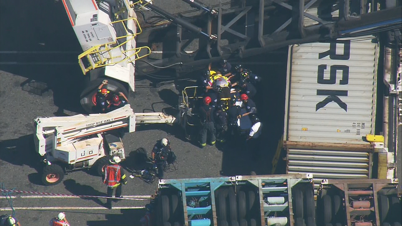 Worker Rescued From Overturned Loader At Port Of Seattle