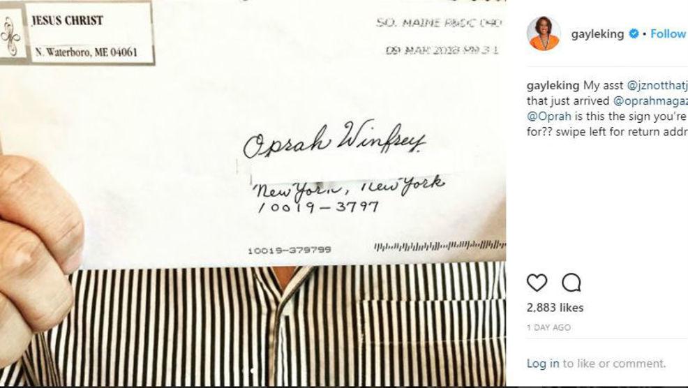 Sign from God Maine resident Jesus Christ sends letter to Oprah