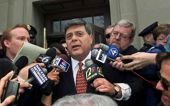 Providence, Rhode Island Mayor Vincent Cianci Jr. is surrounded by members of the media as he leaves the Federal Court House in Providence, R.I., Friday, April 6, 2001. Cianci appeared in Federal Court Friday to answer to a federal indictment on racketeering and bribery. (AP Photo/Victoria Arocho)
