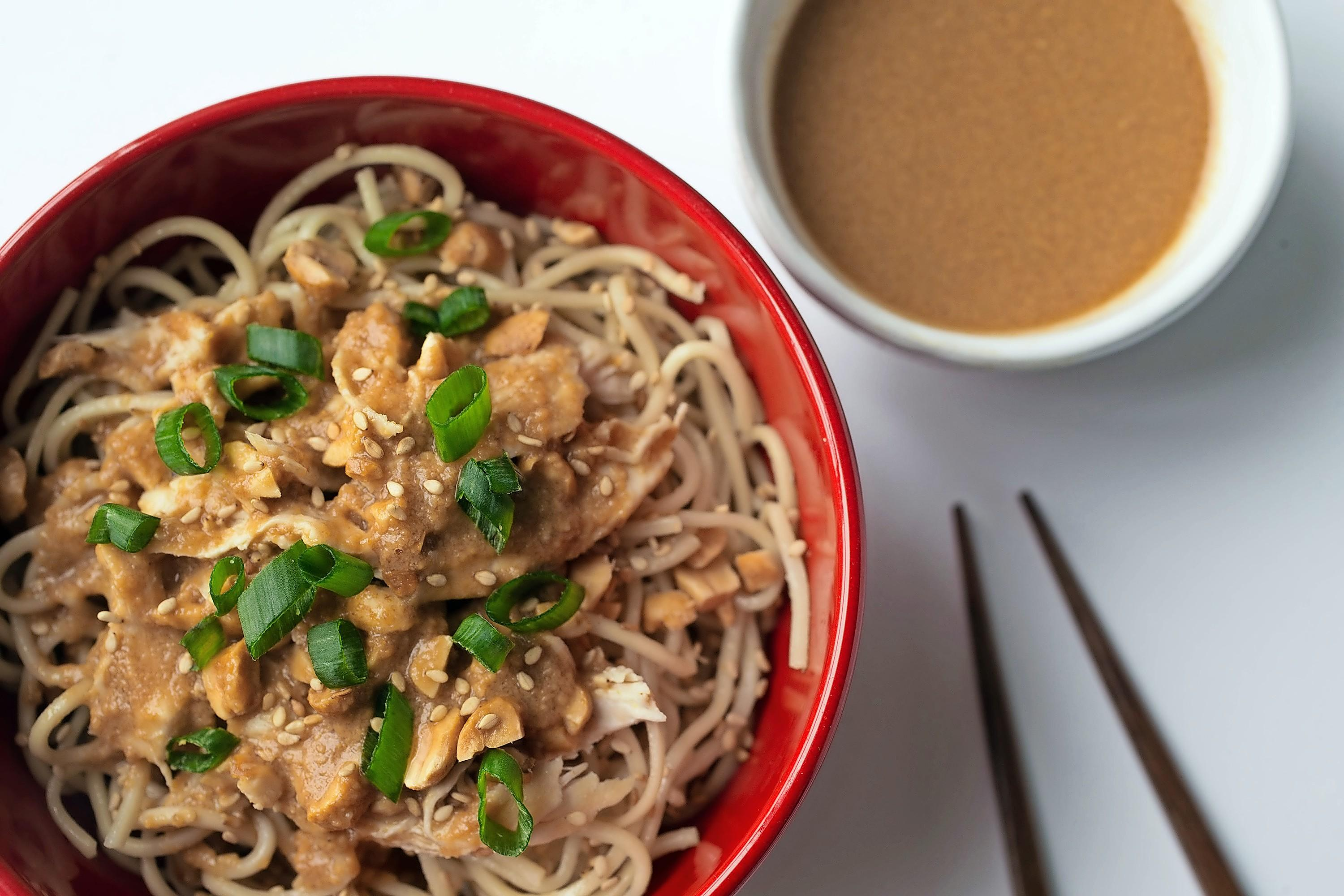 Austin Steele/St. Louis Post-Dispatch/TNS Cold noodles with chicken and peanuts garnished with scallions