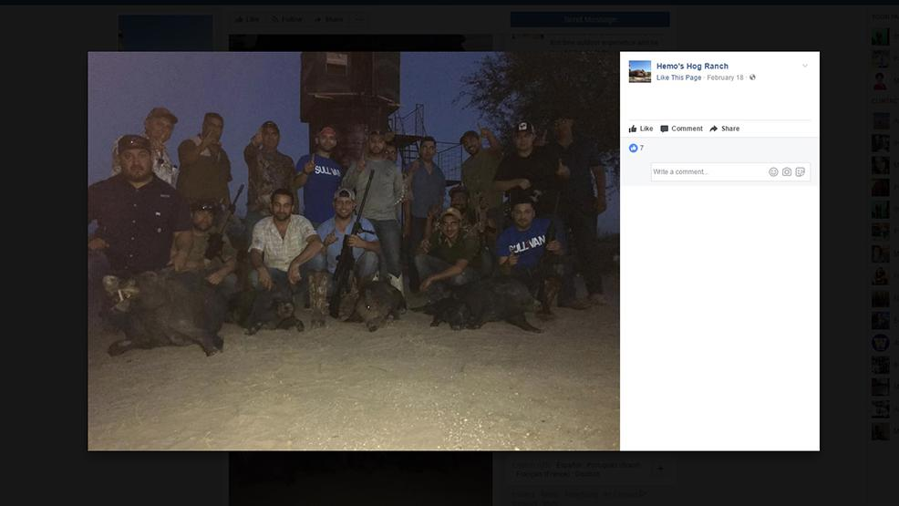 Businessman Lombardo Bazan (front row, center with light-colored shirt) and Sullivan City Mayor-elect Leo Garcia (front row, center with blue shirt and rifle) pose with supporters of the Sull1van political party after a hog hunt in Starr County. (Facebook photo.)