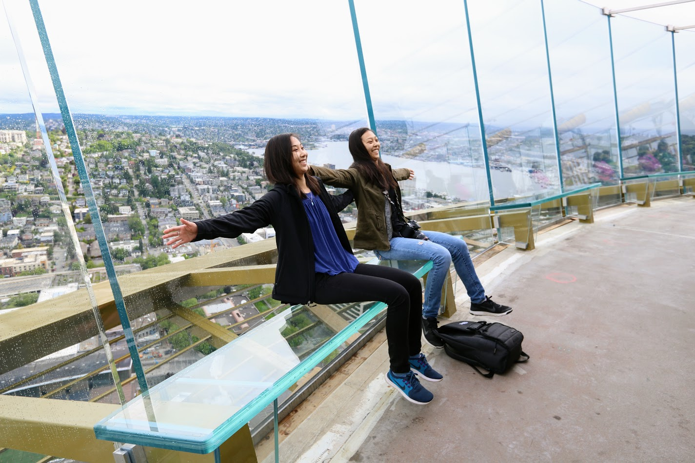 The new benches called &quot;Skyrisers&quot; are slanted back so you can sit back and take a selfie over the city. This is all part of the Space Needle's $100 million renovation. (Photo courtesy the Space Needle){&amp;nbsp;}<p></p>