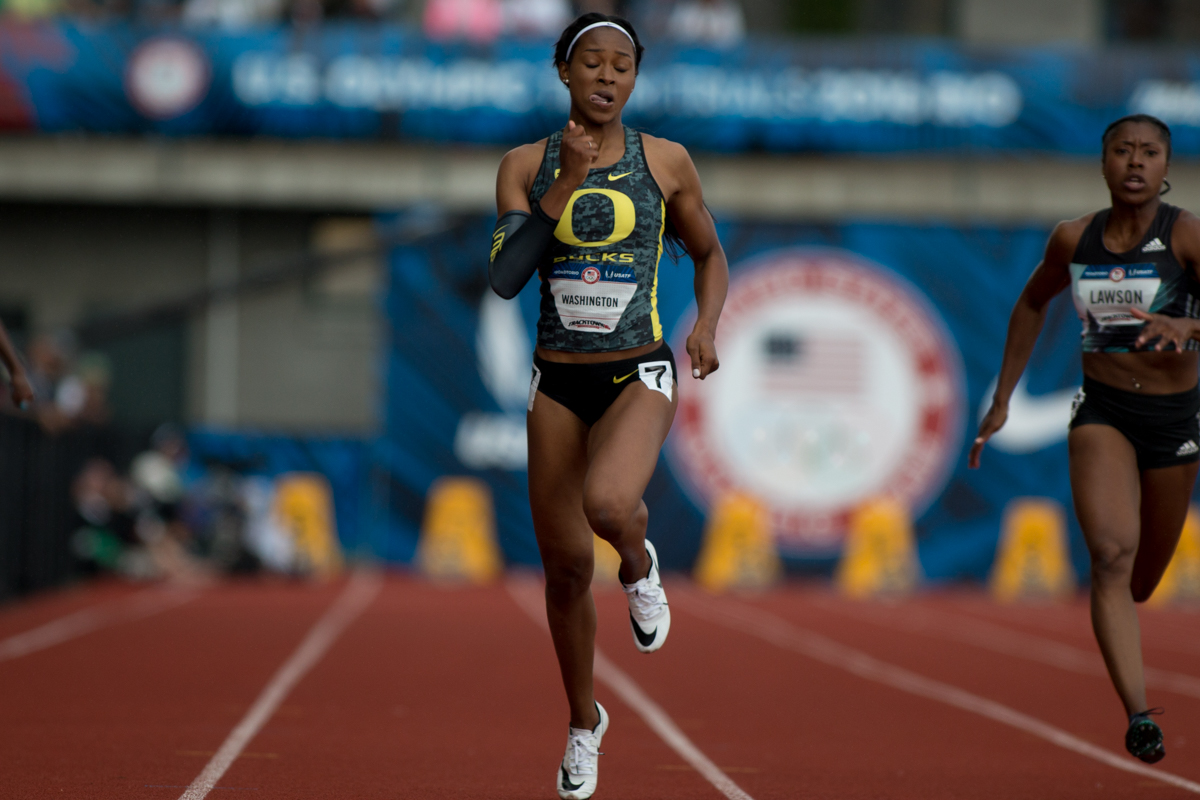 Arianna Washington, the winner of the NCAA title in both the 100m and 200m, runs a 22.95 in the first round of the 200m. Photo by Dillon Vibes