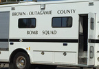 A Brown-Outagamie County Bomb Squad truck is on scene outside a bank in Shawano Aug. 25, 2017.