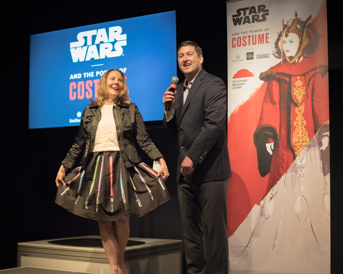 People: Elizabeth Pierce, President & CEO of the Cincinnati Museum Center with Saul Drake / Event: Star Wars and the Power of Costume media preview (5.24.17) / Image: Phil Armstrong, Cincinnati Refined // Published: 5.31.17