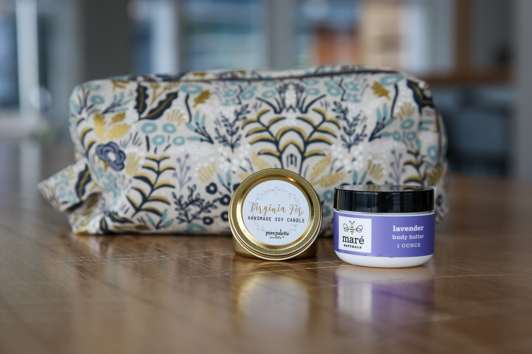 Make-up bag{ } by{ } Leah Bee Quilt (https://leahbeequilts.com/), lotion by Mare Naturals (http://www.marenaturals.com/) and candle by{ }Pure Palette (https://www.purepalettescents.com/).{ }(Amanda Andrade-Rhoades/DC Refined)