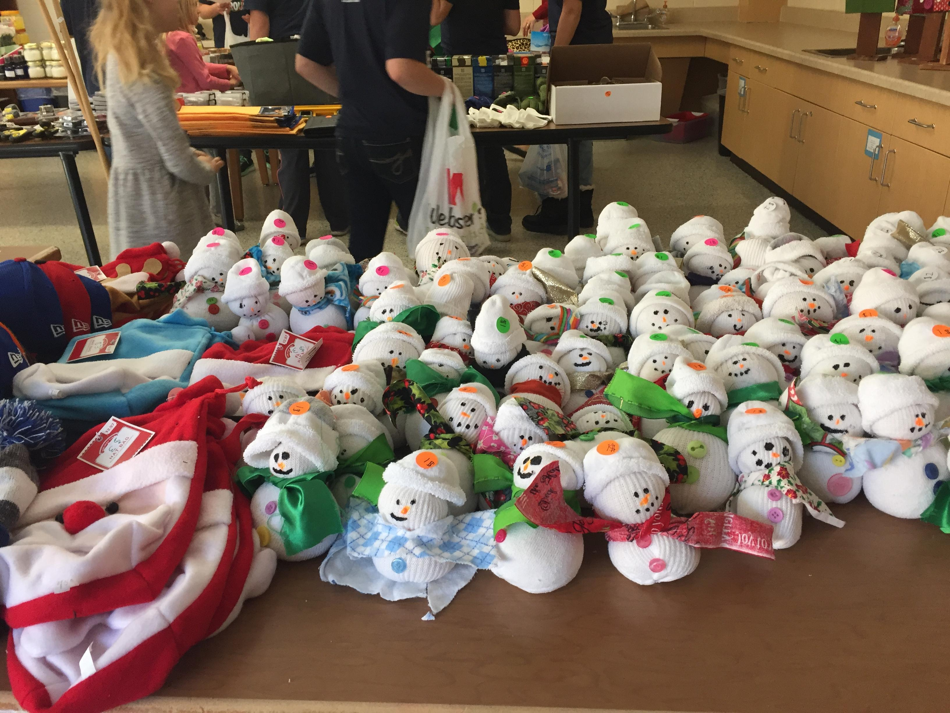 Sock snowmen made by fifth graders at Clay Lamberton Elementary School{&amp;nbsp;}Tuesday, December 19, 2017. (WLUK/Pafoua Yang) <p></p>