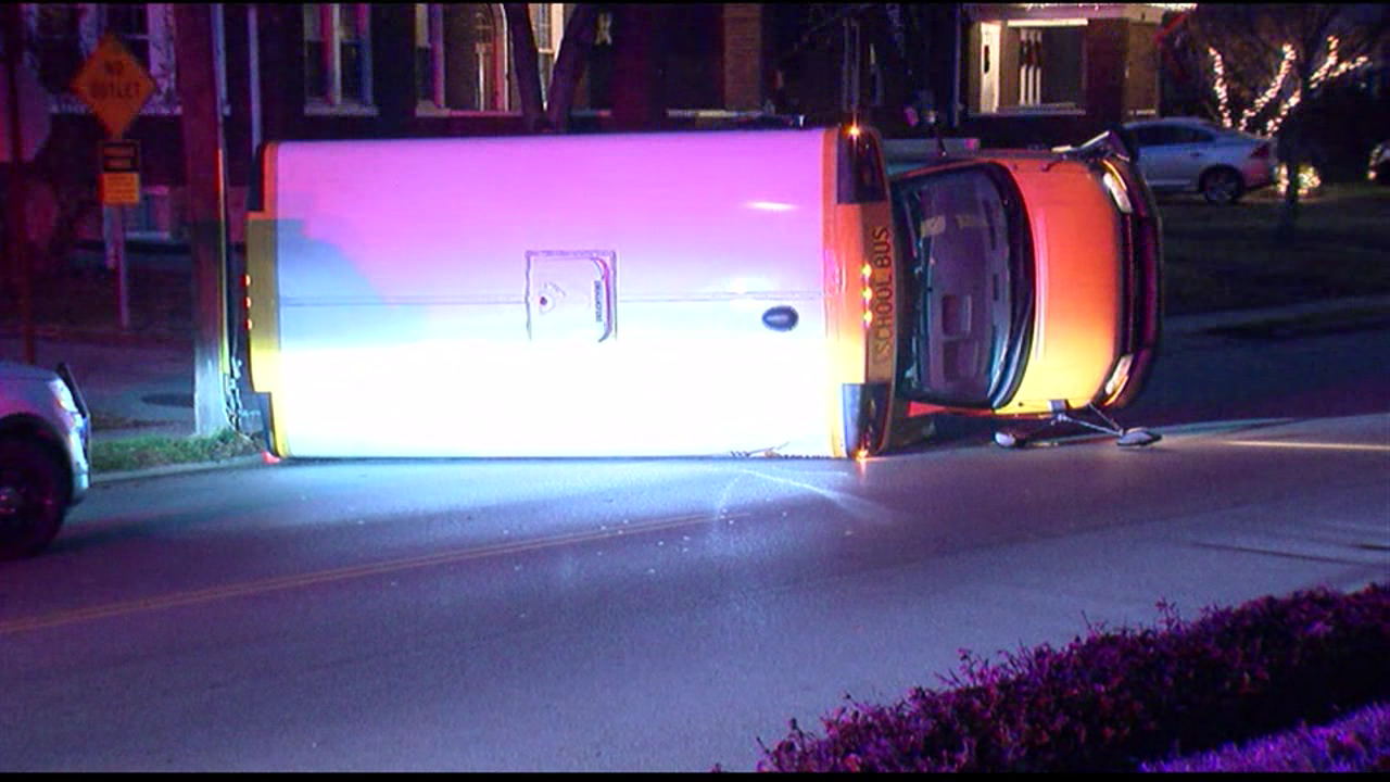 No one hurt when a school bus and an SUV collide on Linwood Avenue (WKRC)