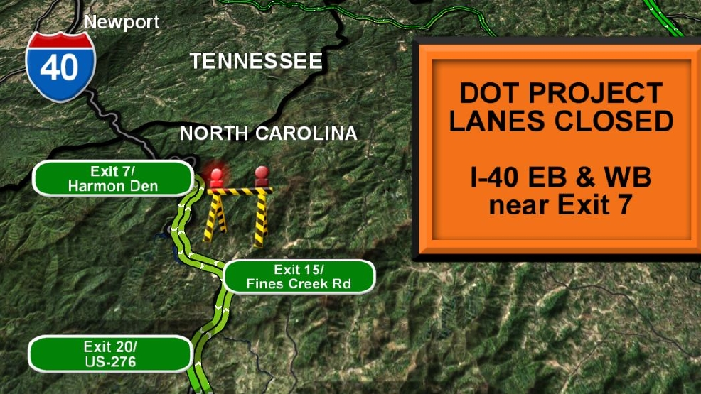 I Safety Project Reduces Traffic To One Lane In Both Directions - Us i 40 map