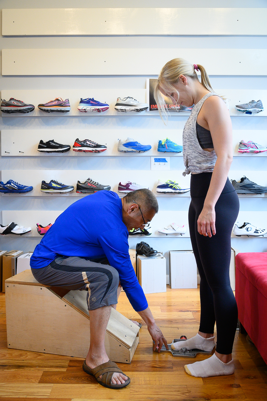 Shoe fittings are personalized to the individual. Joe covers it all—from toe boxes to arches to heels—to help runners find the perfect shoe for their feet and their stride. / Image: Phil Armstrong, Cincinnati Refined // Published: 5.30.19