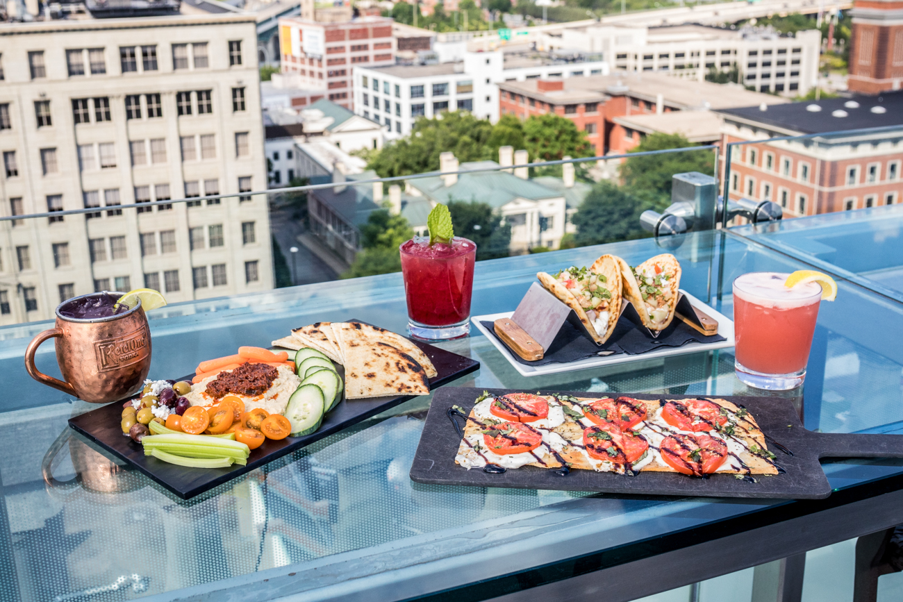 Tomato Pesto Hummus, Gyro Sliders, Margherita Flatbread, Rooftop Lemonade, The 506, and GinCinnati from Top of the Park at The Phelps / Image: Catherine Viox // Published: 9.8.20