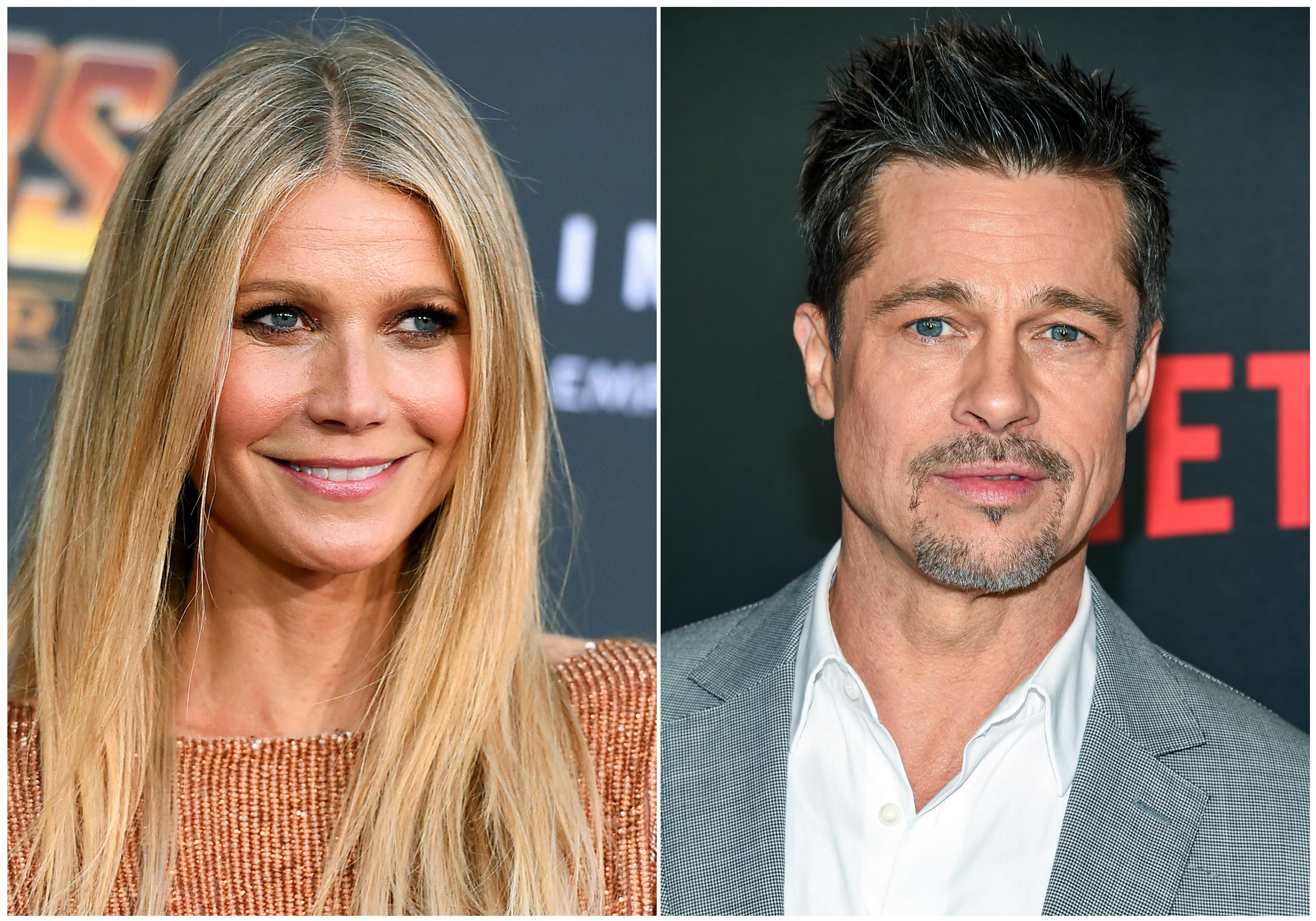 "This combination photo shows Gwyneth Paltrow at the world premiere of ""Avengers: Infinity War"" on April 23, 2018, in Los Angeles, left, and Brad Pitt at the premiere of Netflix's ""Okja"" on June 8, 2017, in New York. Paltrow says ex-boyfriend Pitt threatened producer Harvey Weinstein after an alleged incident of sexual misconduct. The 45-year-old actress told ""The Howard Stern Show"" on Wednesday, May 23, 2018, that she was 22 when Weinstein placed her hands on her at a hotel and suggested they go to a bedroom for massages. Paltrow said she told Pitt what happened and the actor confronted Weinstein at a Broadway opening. (AP Photo)"