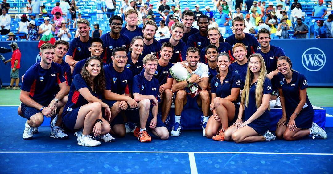 Grigor Dimitrov hanging with the ball kids after defeating Nick Kyrgios in Sunday's championship match. It was Dimitrov's first ever Masters 1000 title. / Image: Ben Solomon // Published: 8.21.17