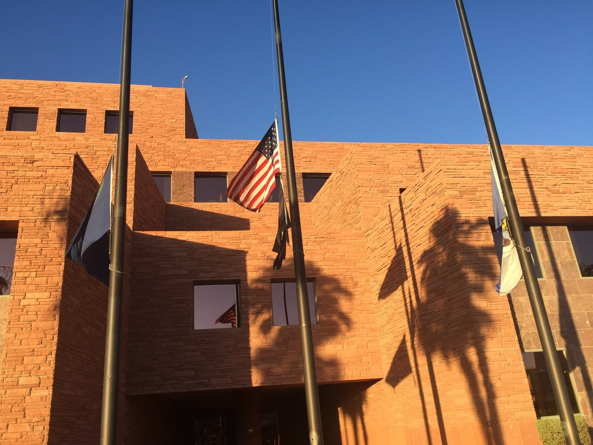 Clark County Nevada flags lowered to half staff (Photo Courtesy Clark County)