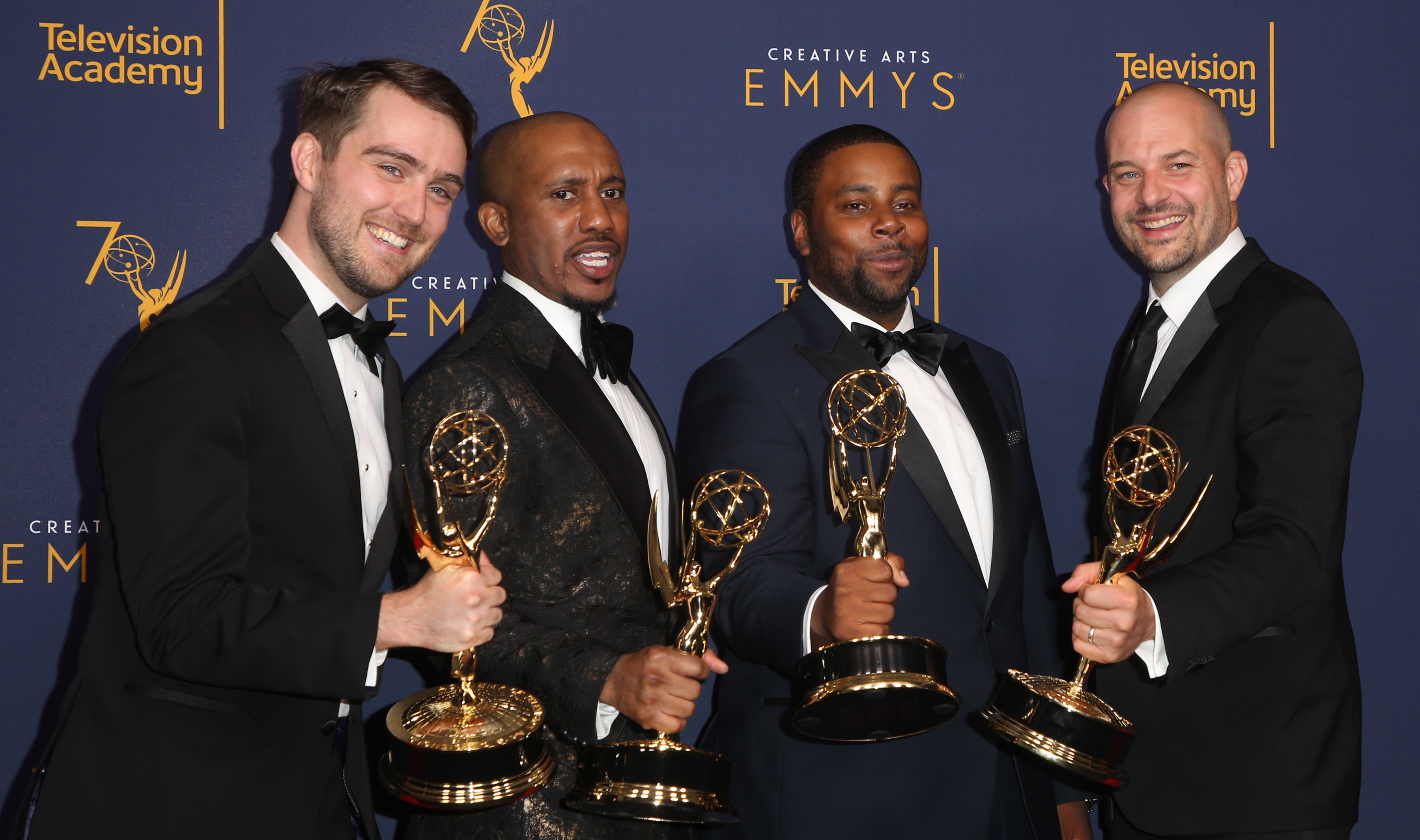 Will Stephen, Chris Redd, Kenan Thompson, and Eli Brueggemann at the 2018 Creative Arts Emmy Awards in Los Angeles, California. (When: Sept. 10 2018. Credit: FayesVision/WENN.com)