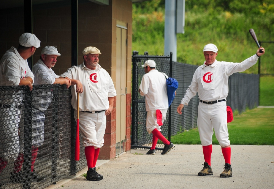 Event: Cincinnati Red Stockings vs. Cincinnati Buckeyes in a game of vintage baseball at Roselawn Park (8.27.16) / Image: Melissa Doss Sliney