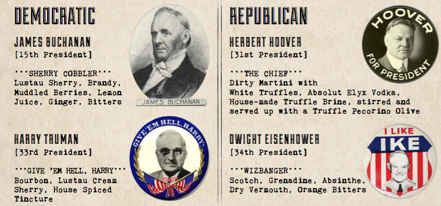 So Swain created as neutral a menu as possible, with two drinks representing the potable preferences of former Republican Presidents, and two representing what Democratic Commanders-in-Chief preferred. (Image: Courtesy Bourbon Steak)