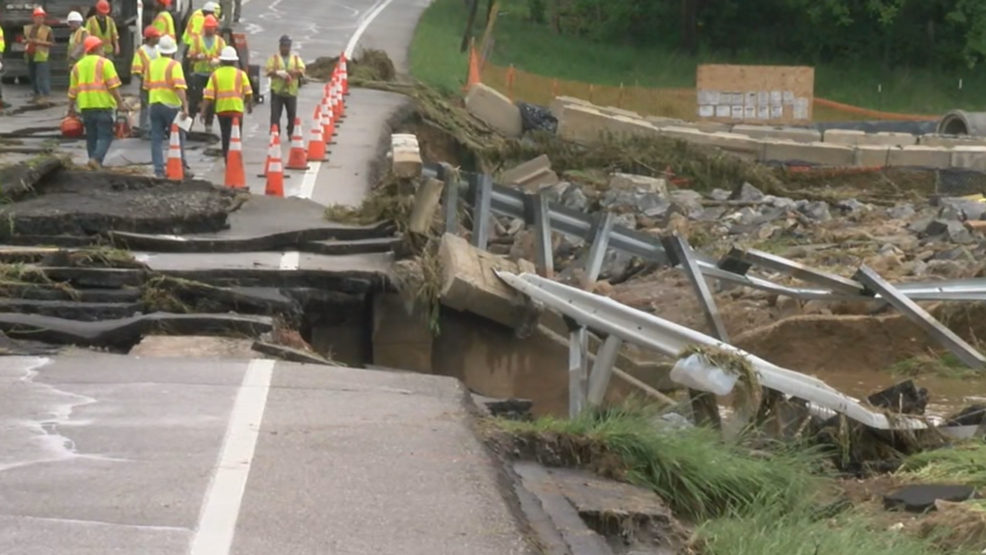 Flooding causes bridge to erode shut