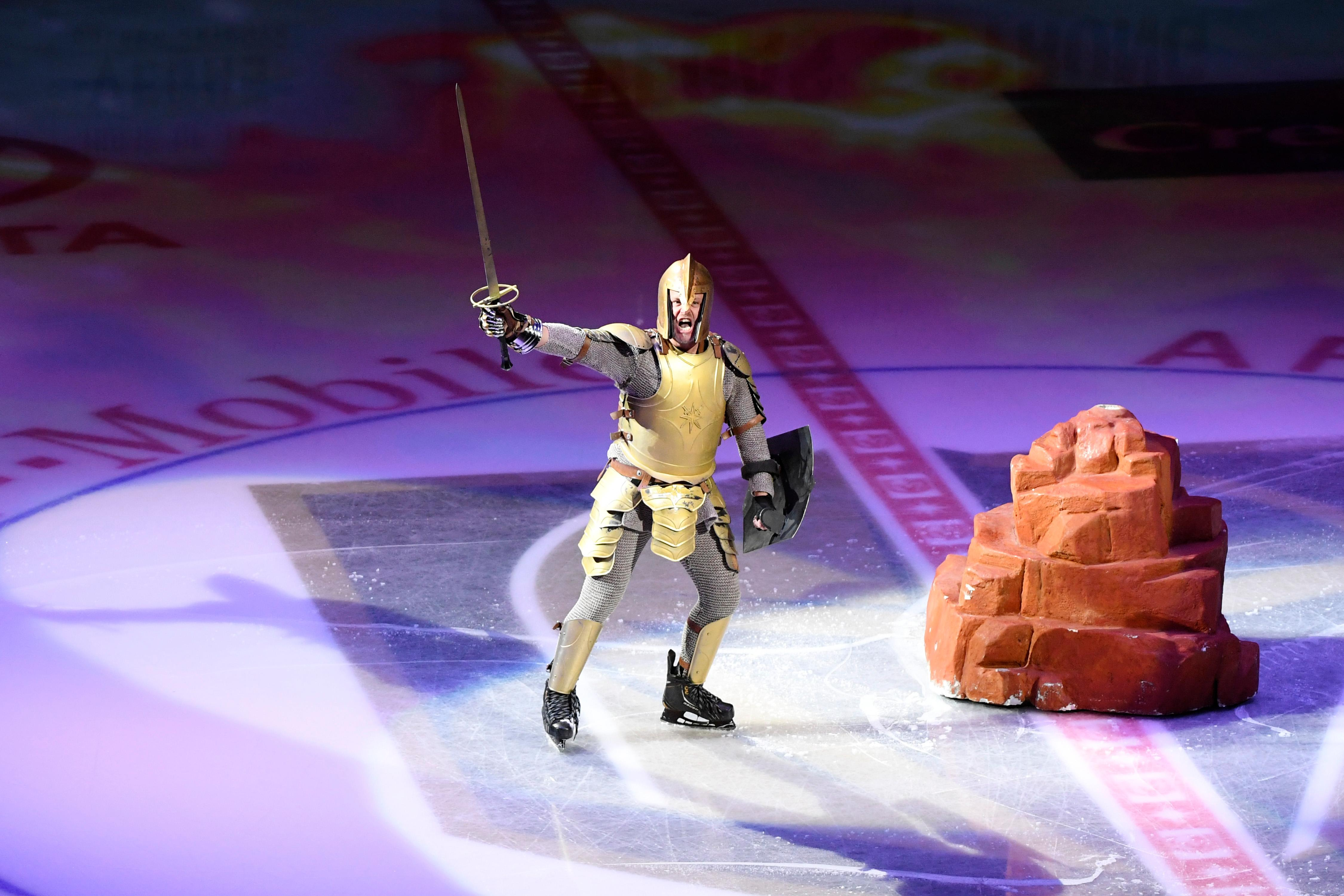 "The Vegas Golden Knights mascot pulls a sword from a ""stone"" as part of their pregame show before their NHL hockey game against the Washington Capitals Saturday, December 23, 2017, at T-Mobile Arena in Las Vegas.  CREDIT: Sam Morris/Las Vegas News Bureau"
