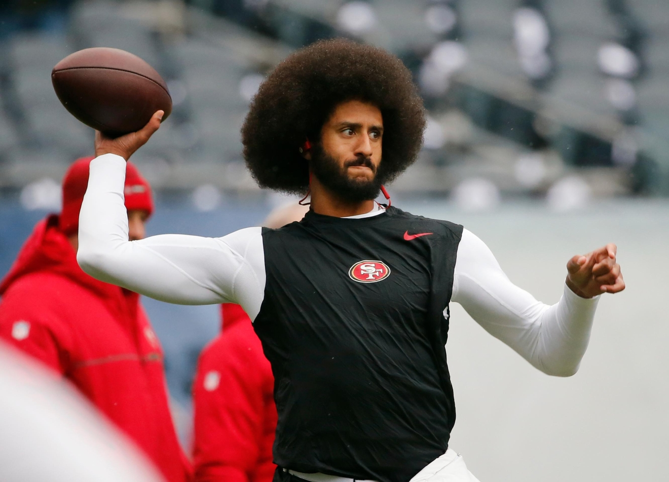 FILE - In this Dec. 4, 2016, file photo, San Francisco 49ers quarterback Colin Kaepernick warms up before an NFL football game against the Chicago Bears.{&amp;nbsp;} (AP Photo/Charles Rex Arbogast, File)<p></p>