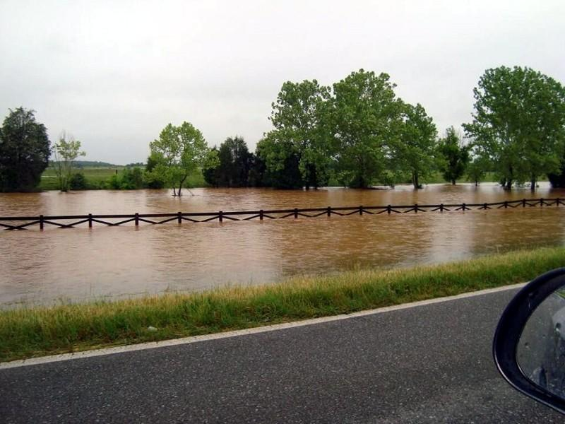 Water is over halfway up the fence on Hwy 21 near Munford. Photo from @adaisywarren