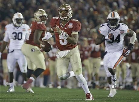 Florida State's Jameis Winston scrambles during the second half of the NCAA BCS National Championship college football game against Auburn Monday, Jan. 6, 2014, in Pasadena, Calif.
