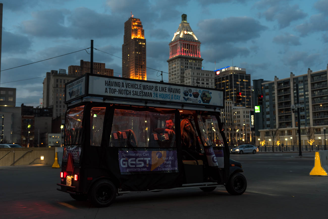 Gest is a golf cart service offering free rides from The Banks to Over-the-Rhine and from Jack Casino to Music Hall. They're paid for by ads displayed on the frame of the carts. You can find the service on Friday and Saturday evenings from 9 p.m. to 2 a.m. To give Gest a try, call 513-421-4378. Lauren and Patrick Dye are the owners of Gest, and they also own Scene (a bar across from the Aronoff Center). / Image: Mike Menke // Published: 2.27.18