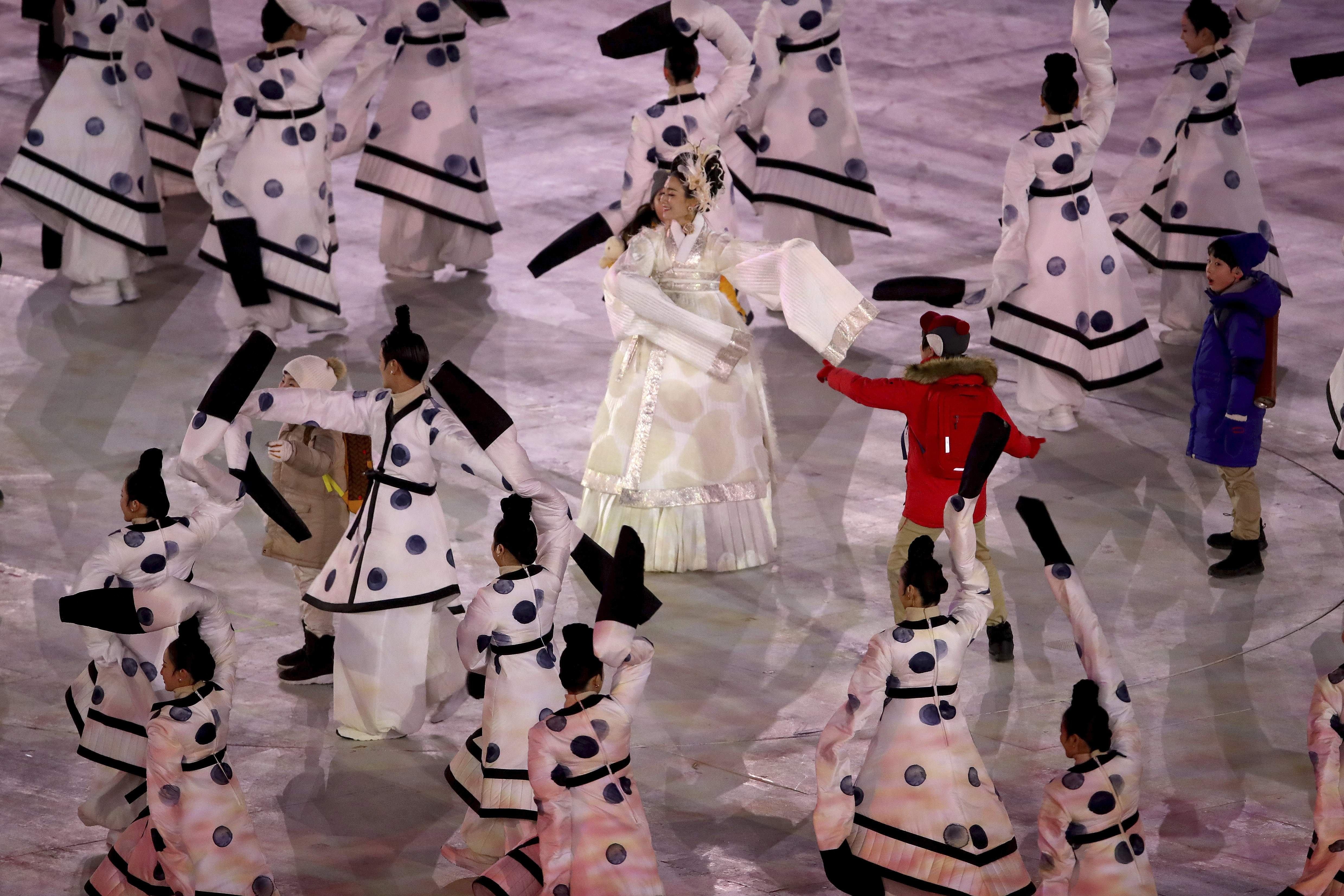 Performers dance during the opening ceremony of the 2018 Winter Olympics in Pyeongchang, South Korea, Friday, Feb. 9, 2018. (Sean Haffey/Pool Photo via AP)