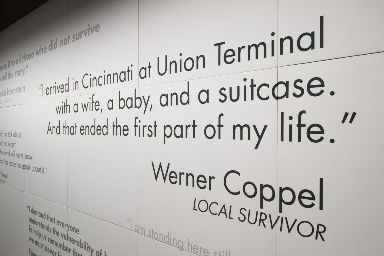 Quotes from local Holocaust survivors line the museum's entrance.{ }/ Image: Ronny Salerno // Published: 1.14.19