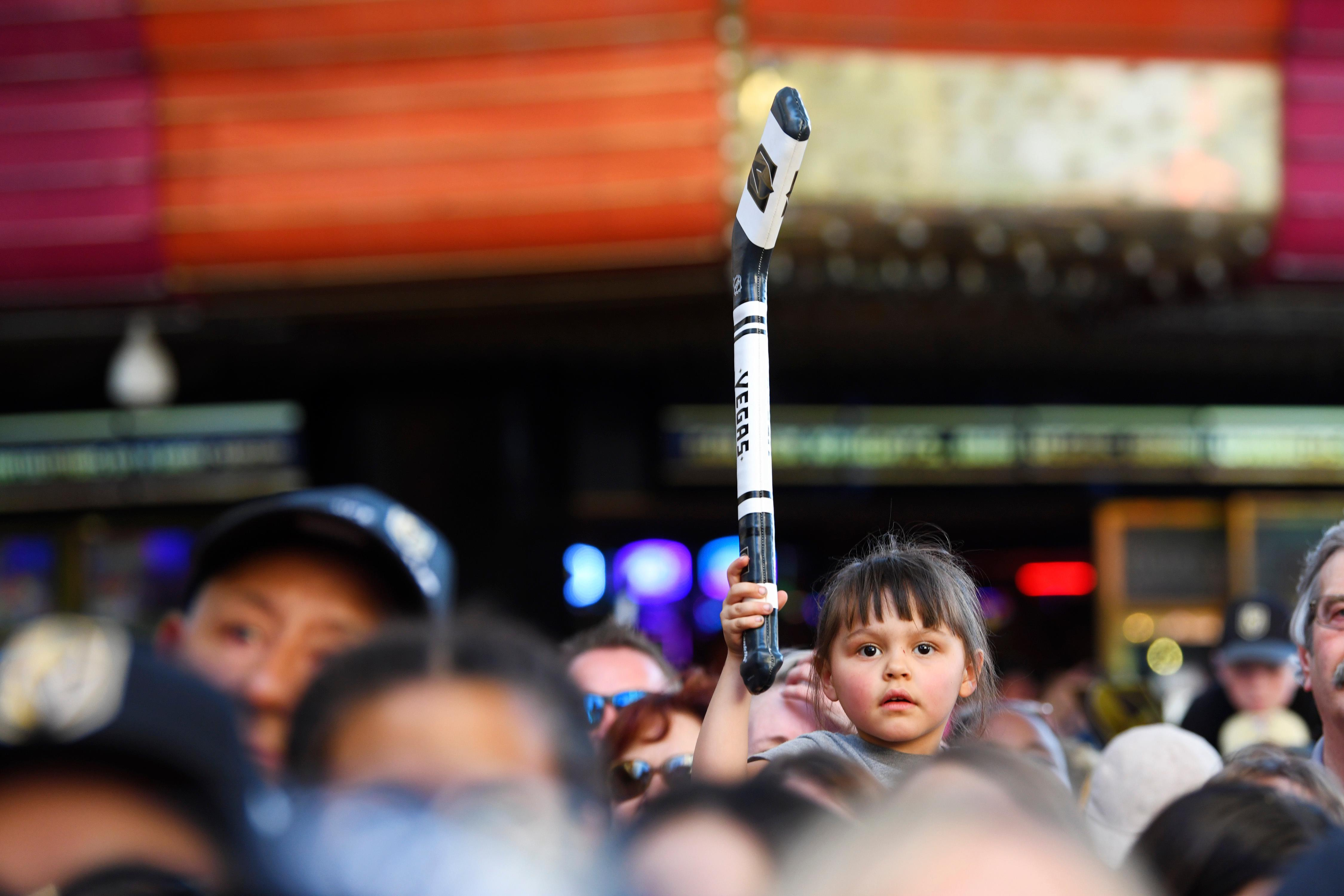 A young fan holds up an inflatable hockey stick during a Vegas Golden Knights Stick Salute to Vegas fan appreciation rally at the Fremont Street Experience Wednesday, June 13, 2018. CREDIT: Sam Morris/Las Vegas News Bureau
