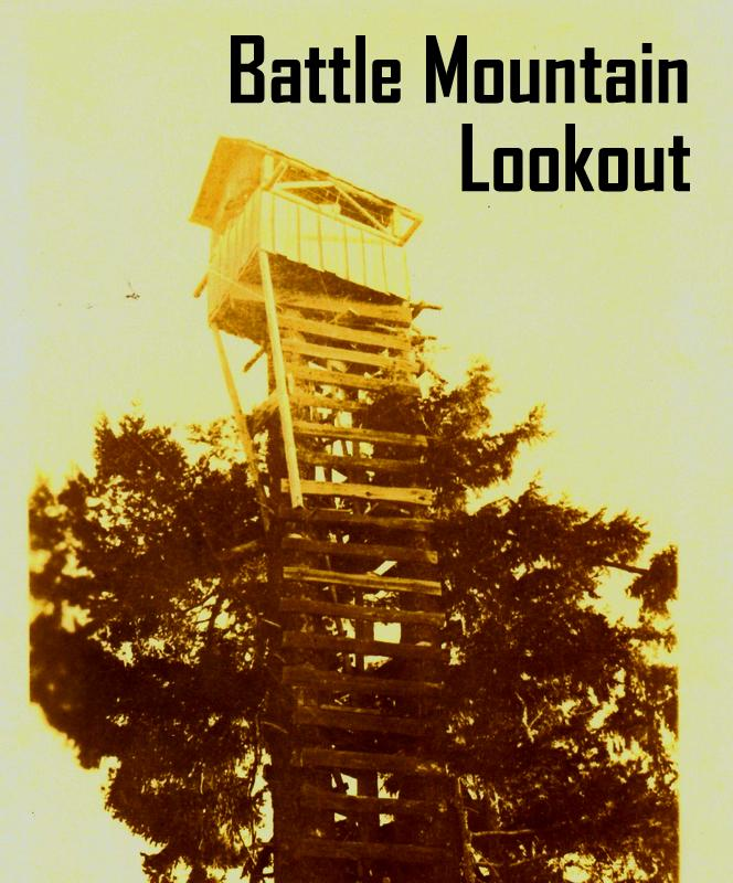 First Battle Mountain Lookout. Image from Oregon Department of Forestry display at 2014 Oregon State Fair. Images collected by department's Forest History Center in Salem, Ore.