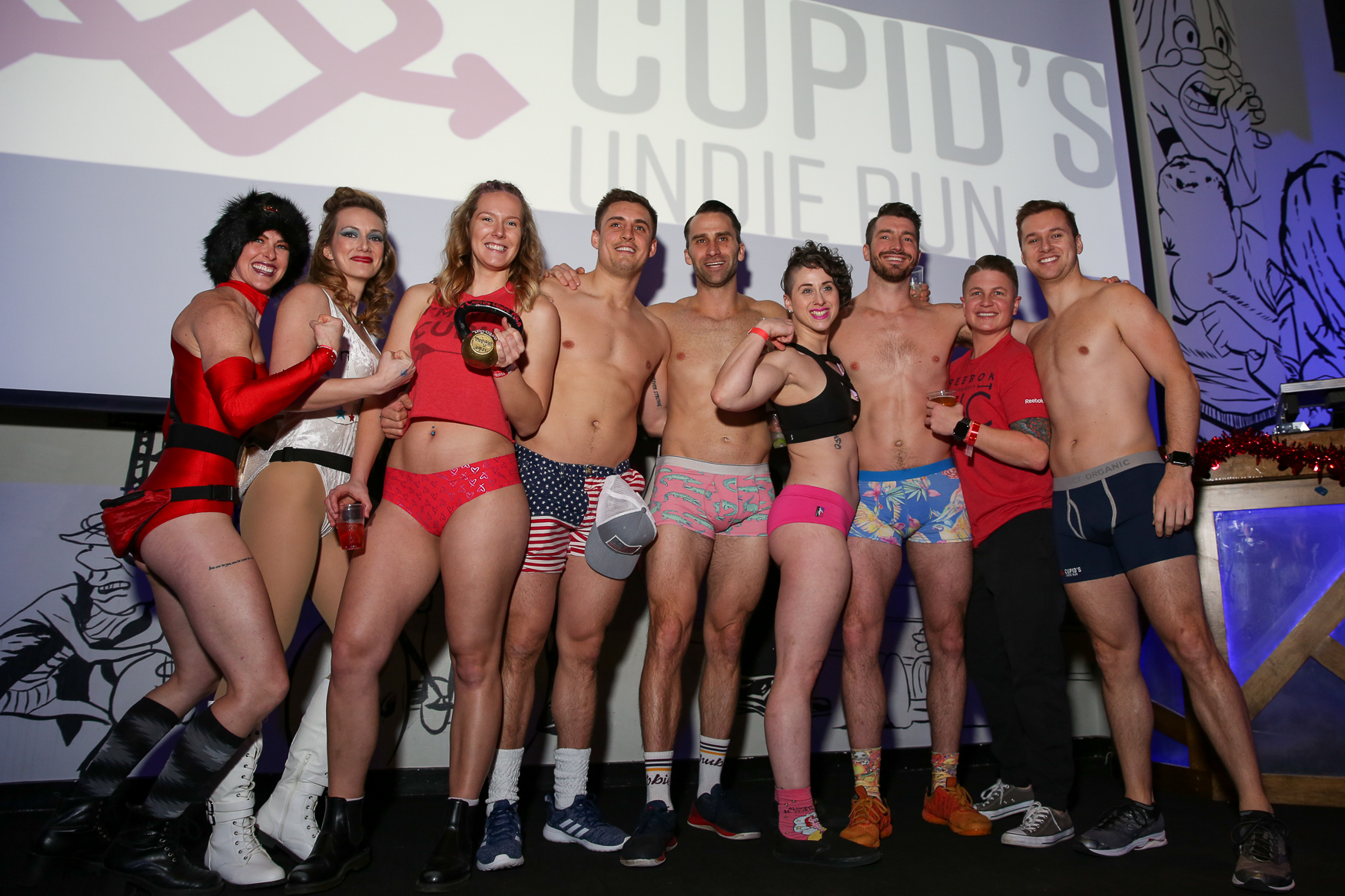Hundreds of people stripped down and ran a mile across downtown D.C. in near-freezing weather for the annual Cupid's Undie Run. Although some folks did run in their skivvies, others opted for costumes - but it was all for a good cause. The participants raise money for children suffering from{ }neurofibromatosis, a type of pediatric cancer. In addition to the run, the participants also enjoyed drinks and some fun at Penn Social. (Amanda Andrade-Rhoades/DC Refined)