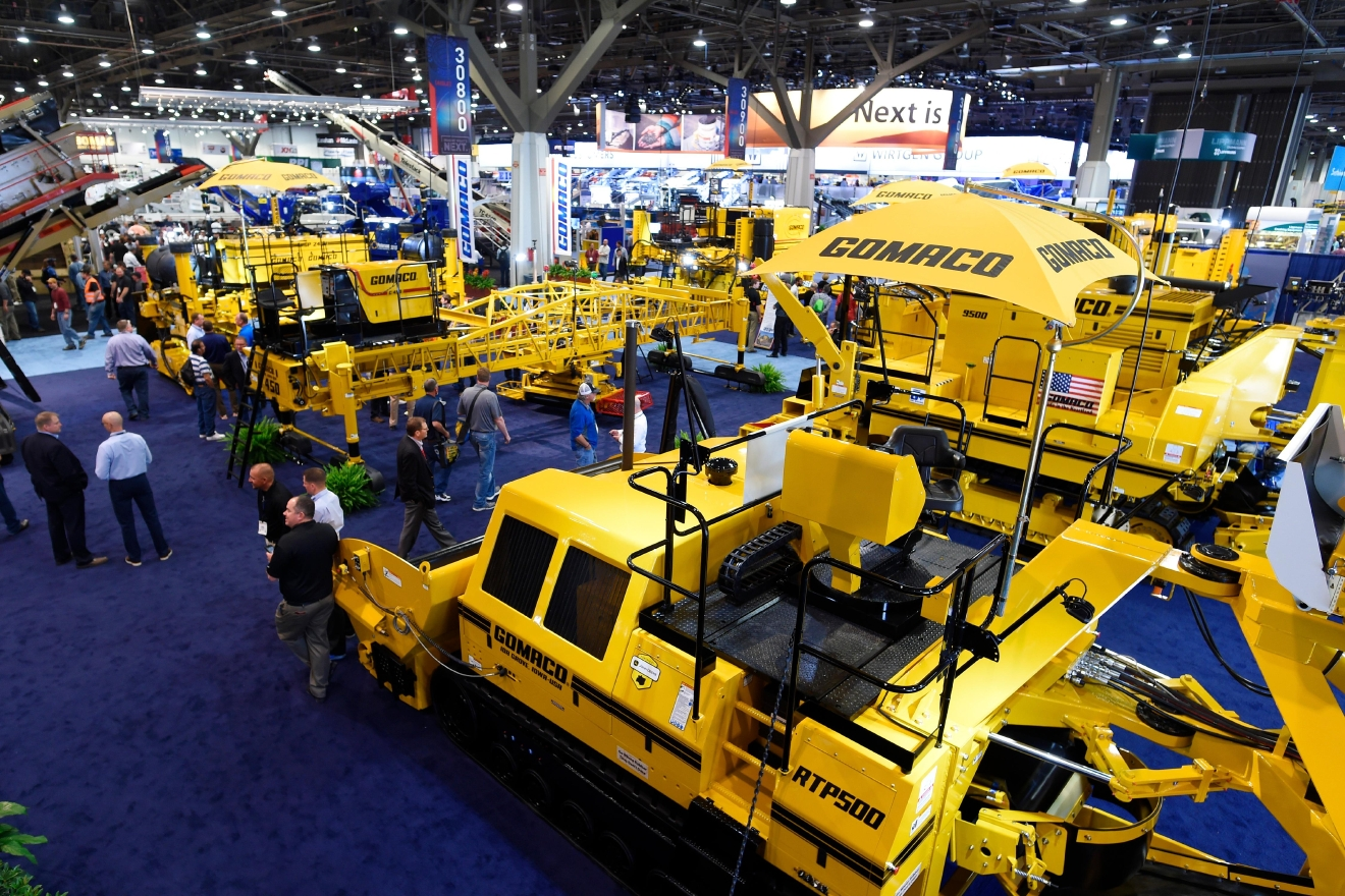 Concrete equipment from Gomaco is seen during the first day of the 2017 CONEXPO-CON/AGG convention Tuesday, March 7, 2017, at the Las Vegas Convention Center. [Sam Morris/Las Vegas News Bureau]