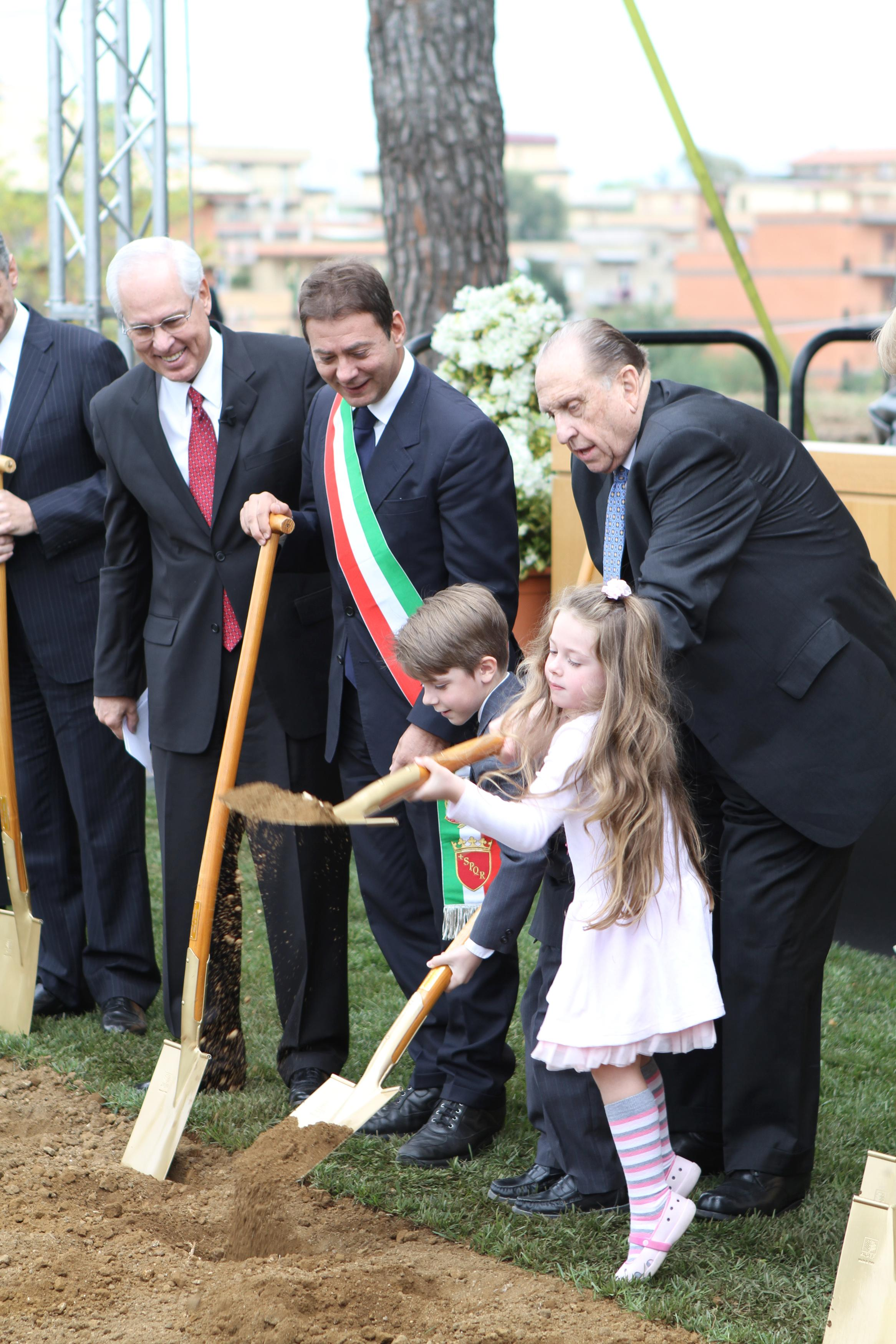 President Thomas S. Monson, with an assist from local children, breaks ground on the Rome Italy Temple on October 23, 2010. (Photo: MormonNewsroom.org){&amp;nbsp;}<p></p>