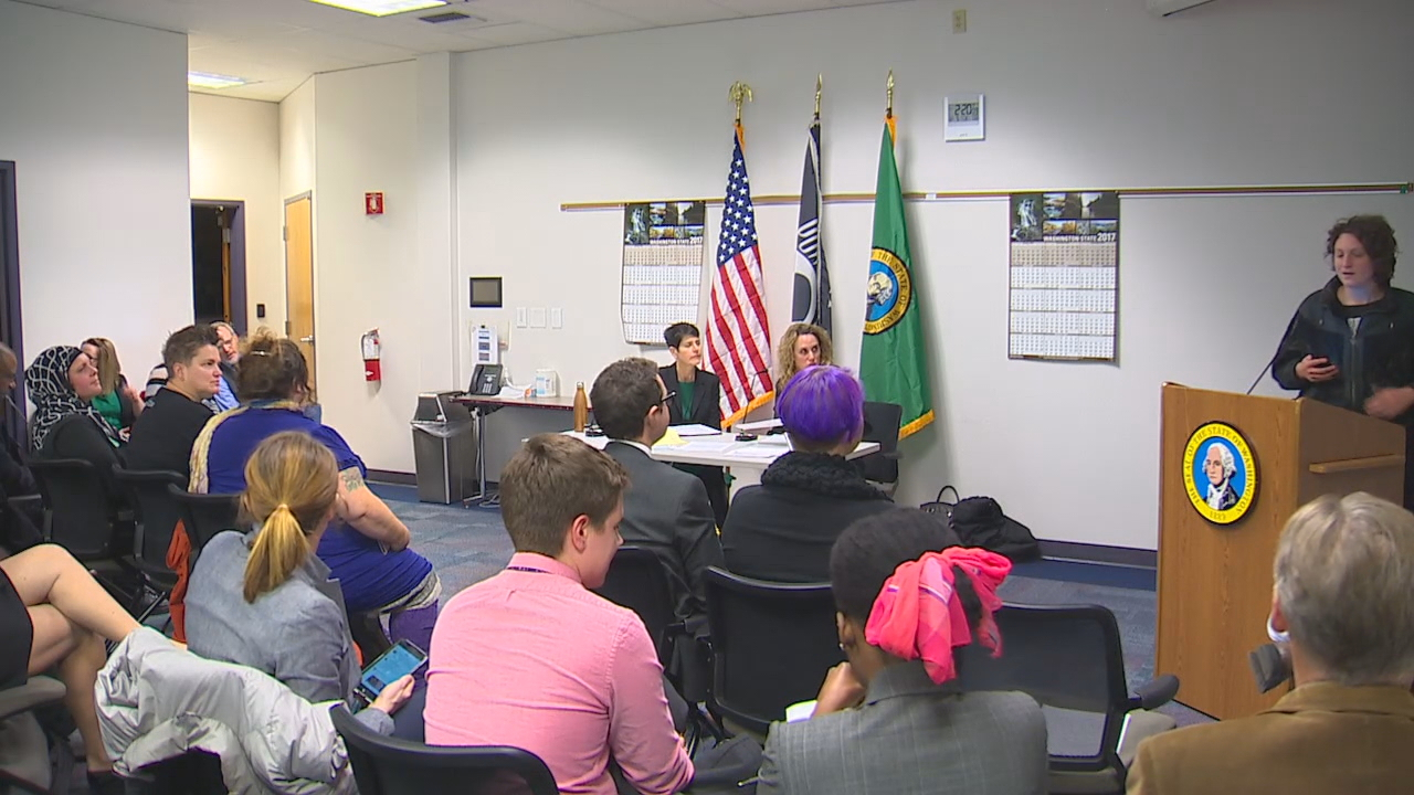 A hearing room in Tumwater was crowded as people testified about a proposal for a third gender on birth certificates. (Photo: KOMO News)<p></p>