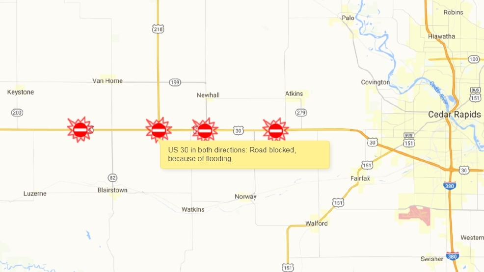 Highway Closed Due To Flooding KGAN - Us highway 30 map