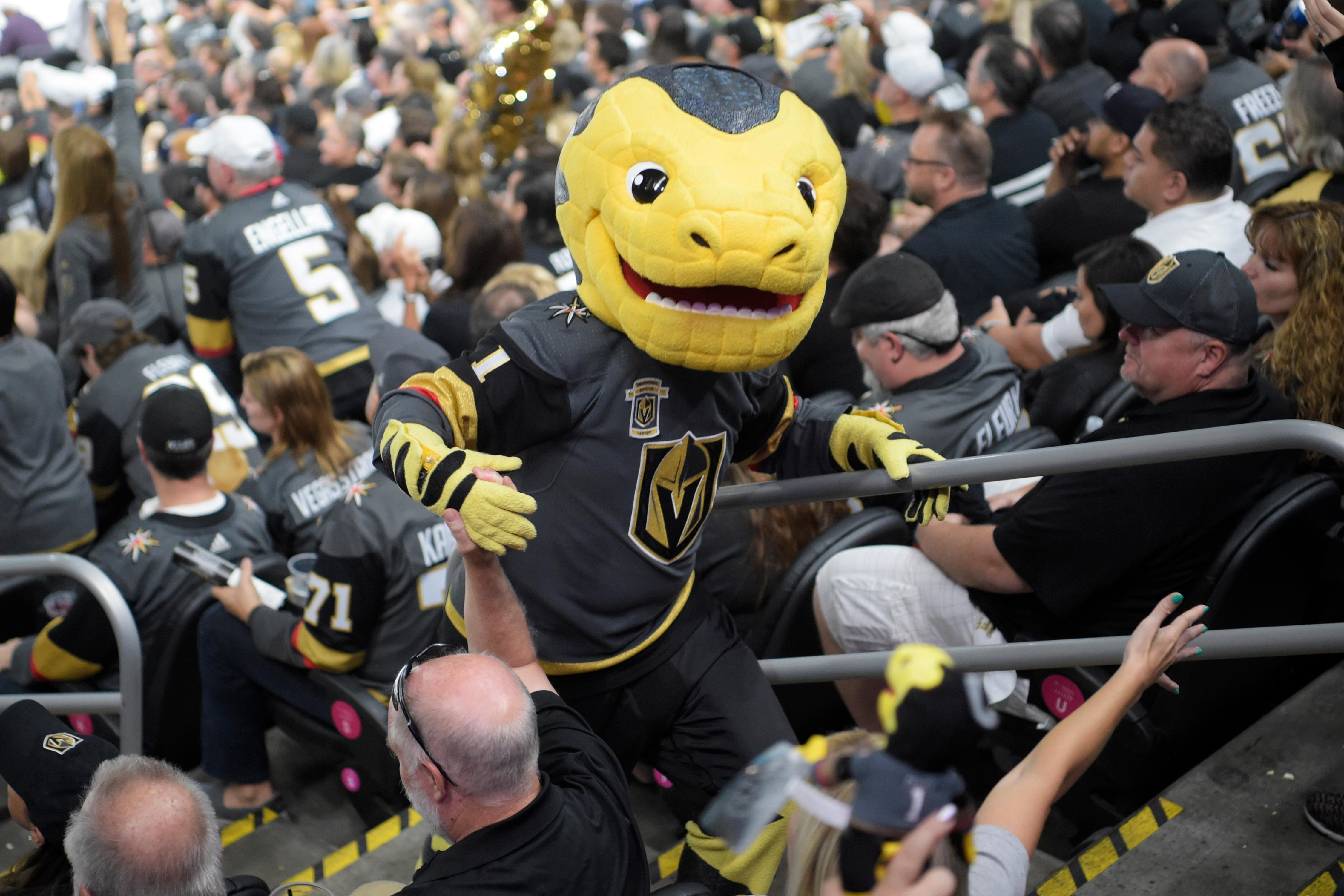Vegas Golden Knights mascot Chance high fives fans during Game 4 of their NHL hockey Western Conference Final game against the Winnipeg Jets Friday, May 18, 2018, at T-Mobile Arena. The Golden Knights won 3-2. CREDIT: Sam Morris/Las Vegas News Bureau