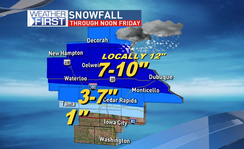 As of Thursday night, forecasted snow amounts until noon Friday.<p></p>