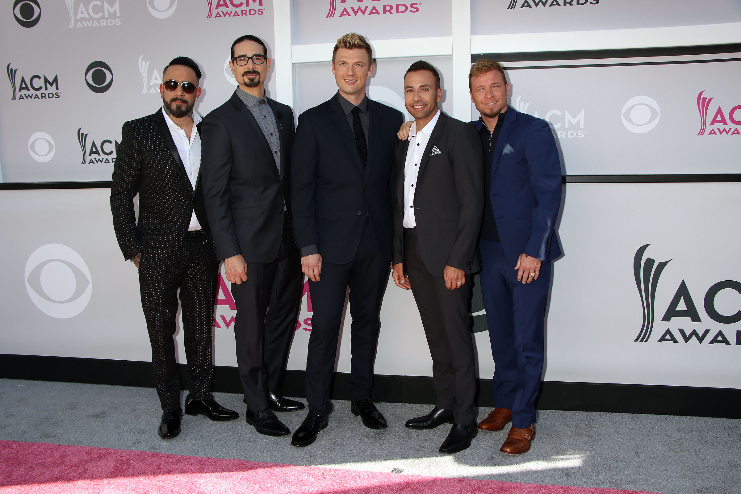 Backstreet Boys attending the 52nd Academy Of Country Music Awards at the T-Mobile Arena in Las Vegas, Nevada.  Featuring: Backstreet Boys, AJ McLean, Howie D., Nick Carter, Kevin Richardson, Brian Littrell Where: Las Vegas, Nevada, United States When: 02 Apr 2017 Credit: DJDM/WENN.com