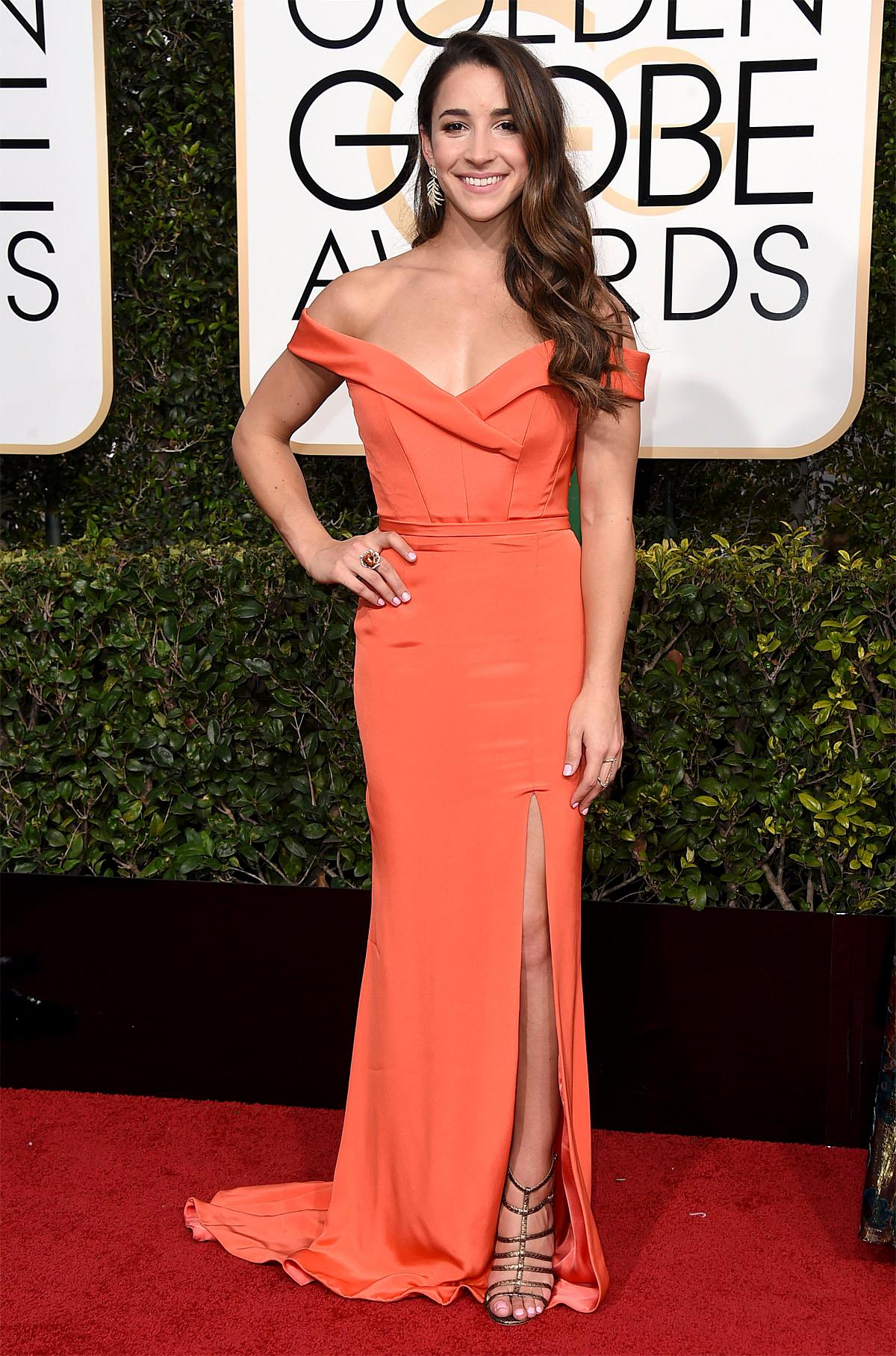 Aly Raisman arrives at the 74th annual Golden Globe Awards at the Beverly Hilton Hotel on Sunday, Jan. 8, 2017, in Beverly Hills, Calif. (Photo by Jordan Strauss/Invision/AP)
