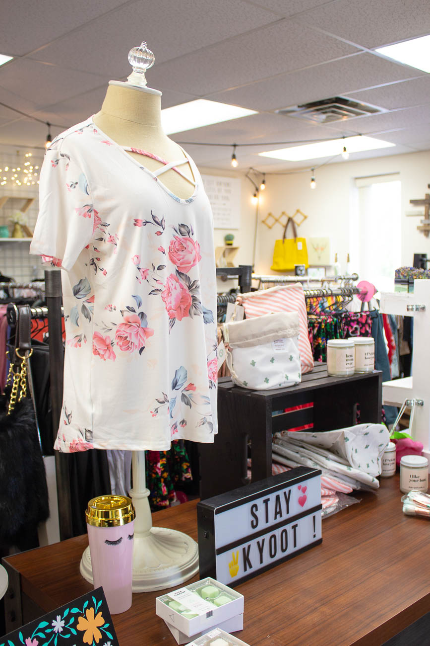 Florence is home to a huge mall with big name shops, but you'll also find a locally owned boutique just down the road. Kyoot Klothing Boutique sells everything from jewelry to exfoliating bath accessories, but their clothing is by far their top-selling product. That's because the colorful pieces aren't just adorable—they range in sizes from small to 3XL (in some items 5X) and they're reasonably priced since they're sold via wholesale. You can shop the collection online, as well. ADDRESS: 8142 Mall Road (41042) / Image: Katie Robinson, Cincinnati Refined // Published: 5.8.19