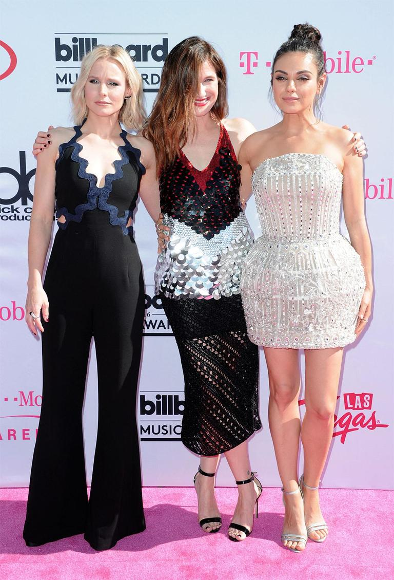 Kristen Bell, from left, Kathryn Hahn and Mila Kunis arrive at the Billboard Music Awards at the T-Mobile Arena on Sunday, May 22, 2016, in Las Vegas. (Photo by Richard Shotwell/Invision/AP)