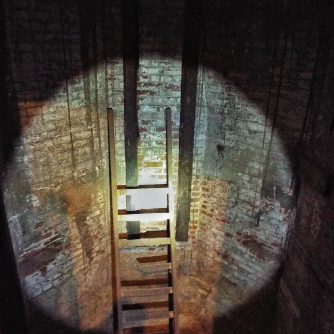 To the left of the Standpipe's entry is a door to the empty elevator shaft leading up the turret. All that resides in the dark shaft now is an old wooden ladder. / Image: Amy Bauer // Published: 3.14.19