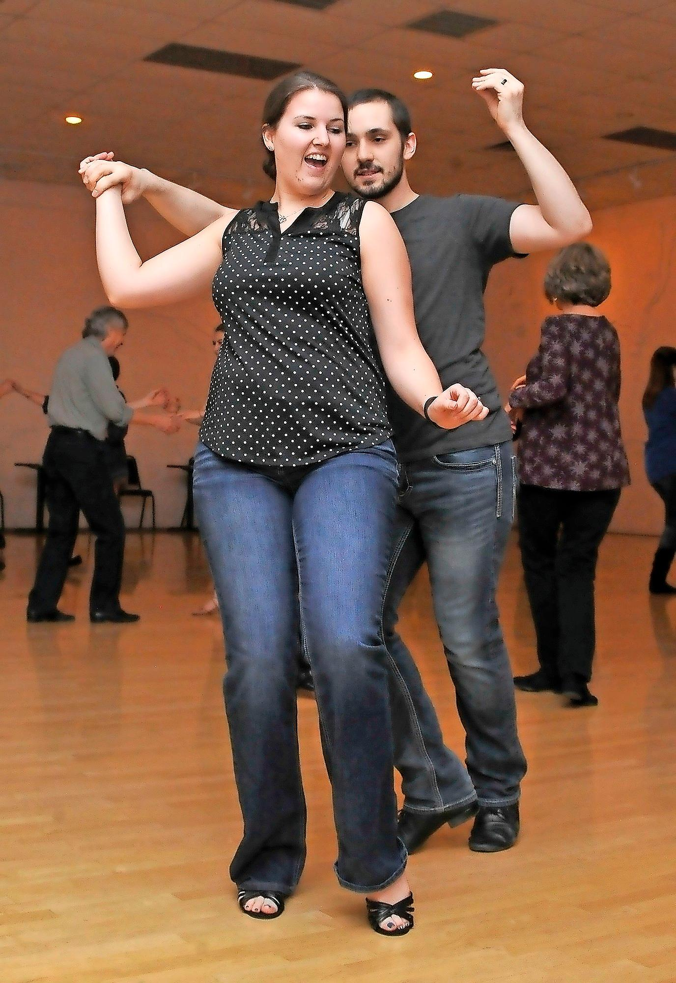 Jessica Kaiserman and Derrick Coghill share a dance during a Southern Oregon Swing session. - PHOTO BY DENISE BARATTA