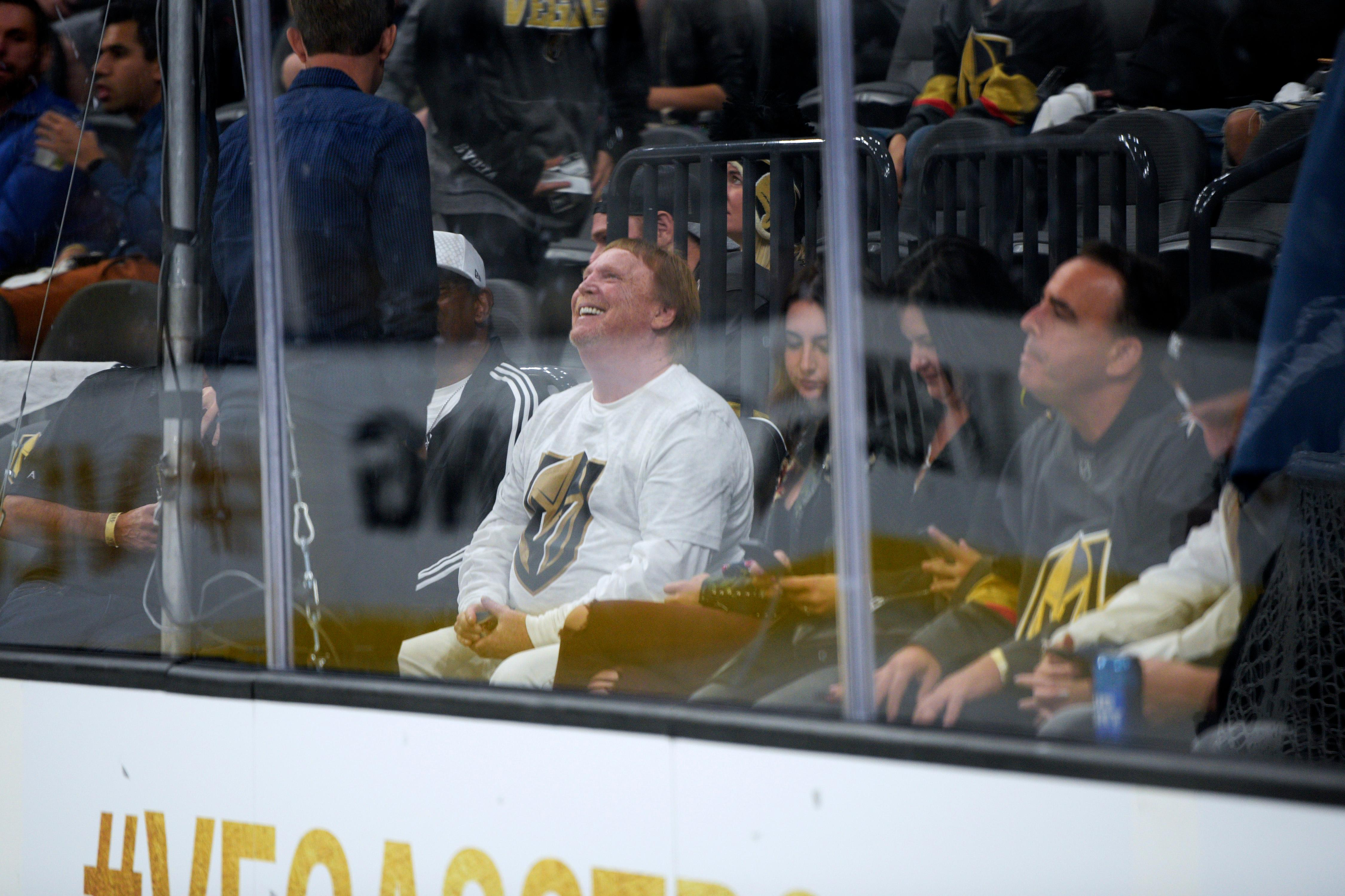 Oakland Raiders owner Mark Davis talks with another person during the Vegas Golden Knights home opener against the Arizona Coyotes Tuesday, Oct. 10, 2017, at the T-Mobile Arena. The Knights won 5-2 to extend their winning streak to 3-0. CREDIT: Sam Morris/Las Vegas News Bureau