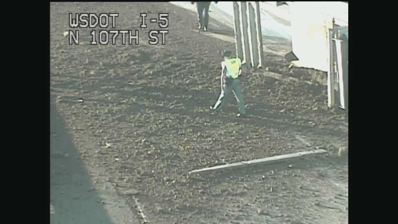 Truck spills its load on I-5 North near Northgate (WSDOT Photo)